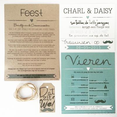 Trouwkaart Design by Loes op maat ontworpen vintage mint pakketje
