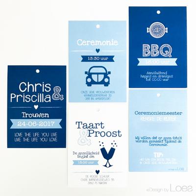 Trouwkaart Design by Loes op maat ontworpen modern bundel blauw