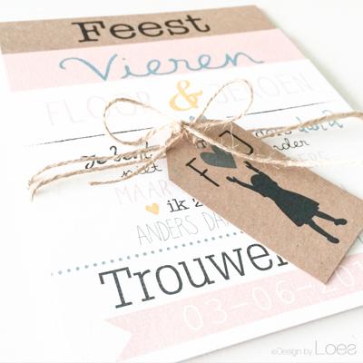 Trouwkaart Design by Loes ontwerp op maat pakketje zalm Kraft mint