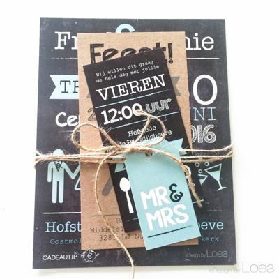 Trouwkaart op Maat Design by Loes pakket schoolbord stoer
