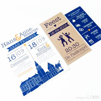 Trouwkaart op maat Design by Loes pakketje blauw Groningen