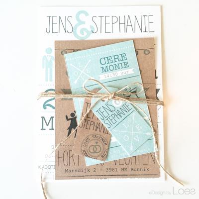 Trouwkaart op Maat Design by Loes pakket vintage mint