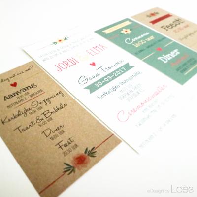 Trouwkaart op Maat Design by Loes pakket vintage bloemen kleurrijk