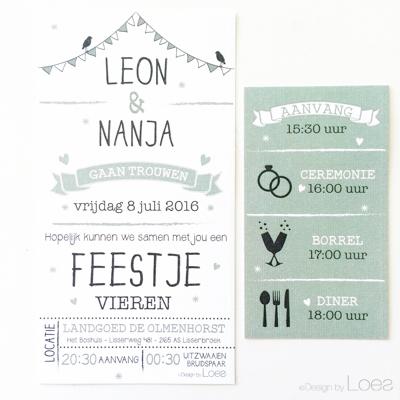 Trouwkaart op maat Design by Loes vintage groen