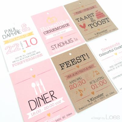 Trouwkaart op Maat Design by Loes bundel roze vrolijk