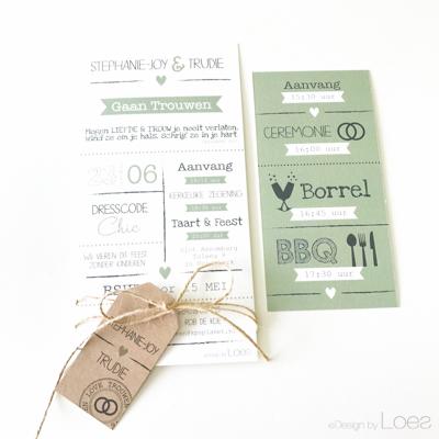 Trouwkaart op Maat Design by Loes pakketje vintage