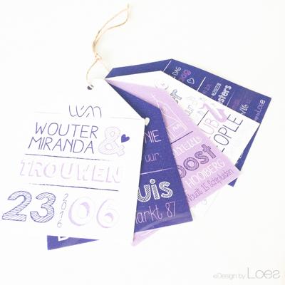 Trouwkaart Design by Loes op maat ontworpen bundel labels lavendel