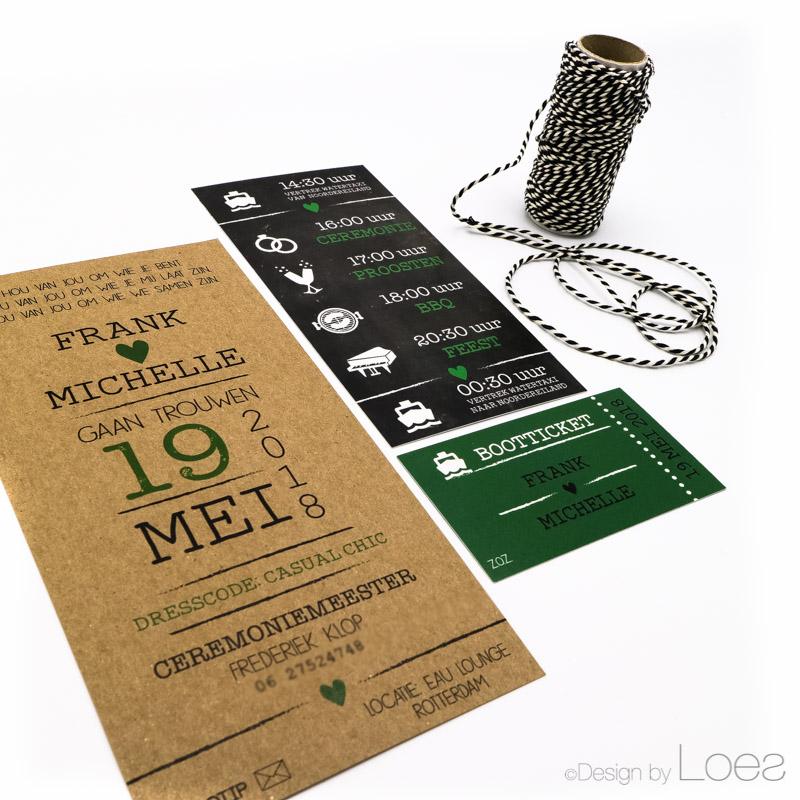 Stoere Trouwkaart op maat gemaakt voor Frank en Michelle met groen, zwart en kraft papier.