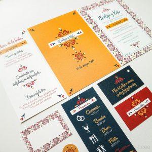 Trouwkaart met Spaans sfeertje, speciaal ontworpen voor Evelyn en Kai. Vrolijke warme kleuren die het Spaanse gevoel versterken. Set van losse kaartjes inclusief menukaart, naamkaartje en bedankje.