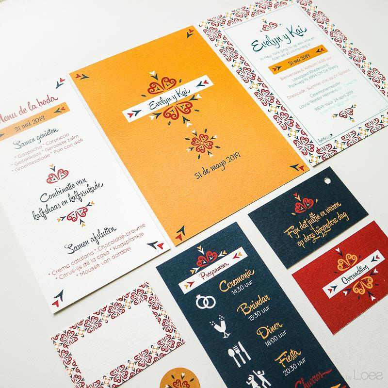 Complete trouwkaarten huisstijl, Spaanse bruiloft - kleurrijk ontwerp op maat gemaakt.