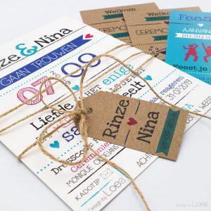 Een kleurrijke en speelse trouwkaart. Het ontwerp Best day Ever uit die trouwkaartencollectie gepersonaliseerd naar de wensen van Rinze en Nina. Een vrolijke geheel die helemaal aansluit bij de rest van hun styling.