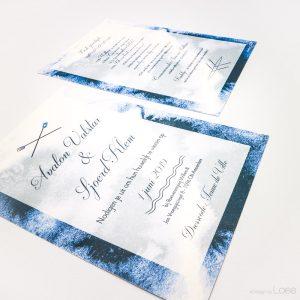 Trouwkaart met waterthema speciaal ontworpen voor Sjoerd en Avalon. Blauw watercolor achtergrond en roei illustraties. Een combinatie van klassiek en strak lettertype.